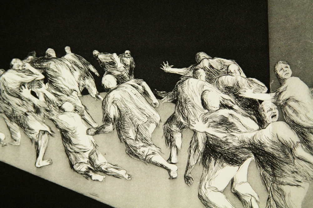 A frightened crowd of men fleeing (the spectre of) annihilation. (Detail)