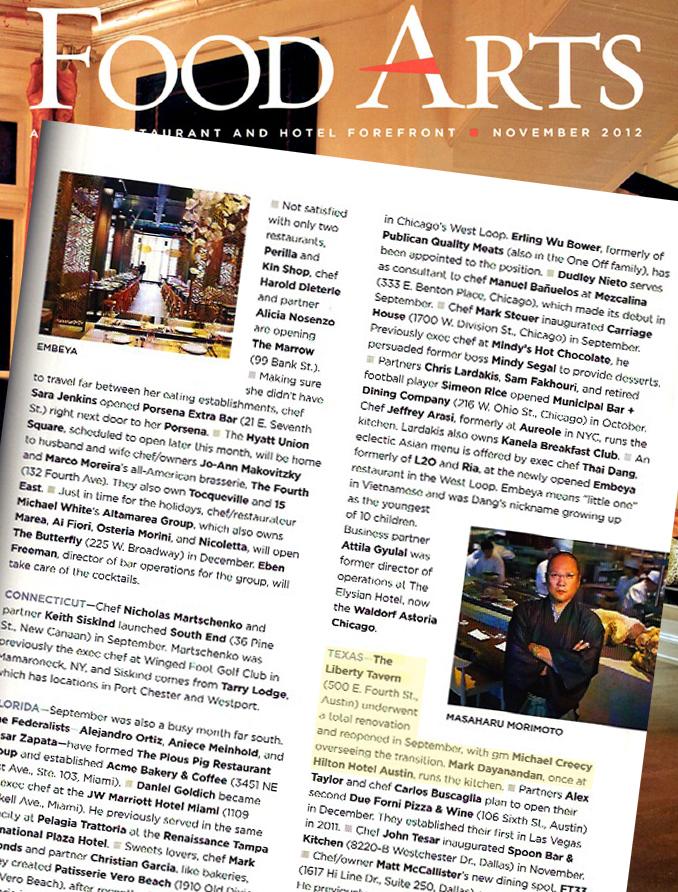 Liberty Tavern in Food Arts, November 2012