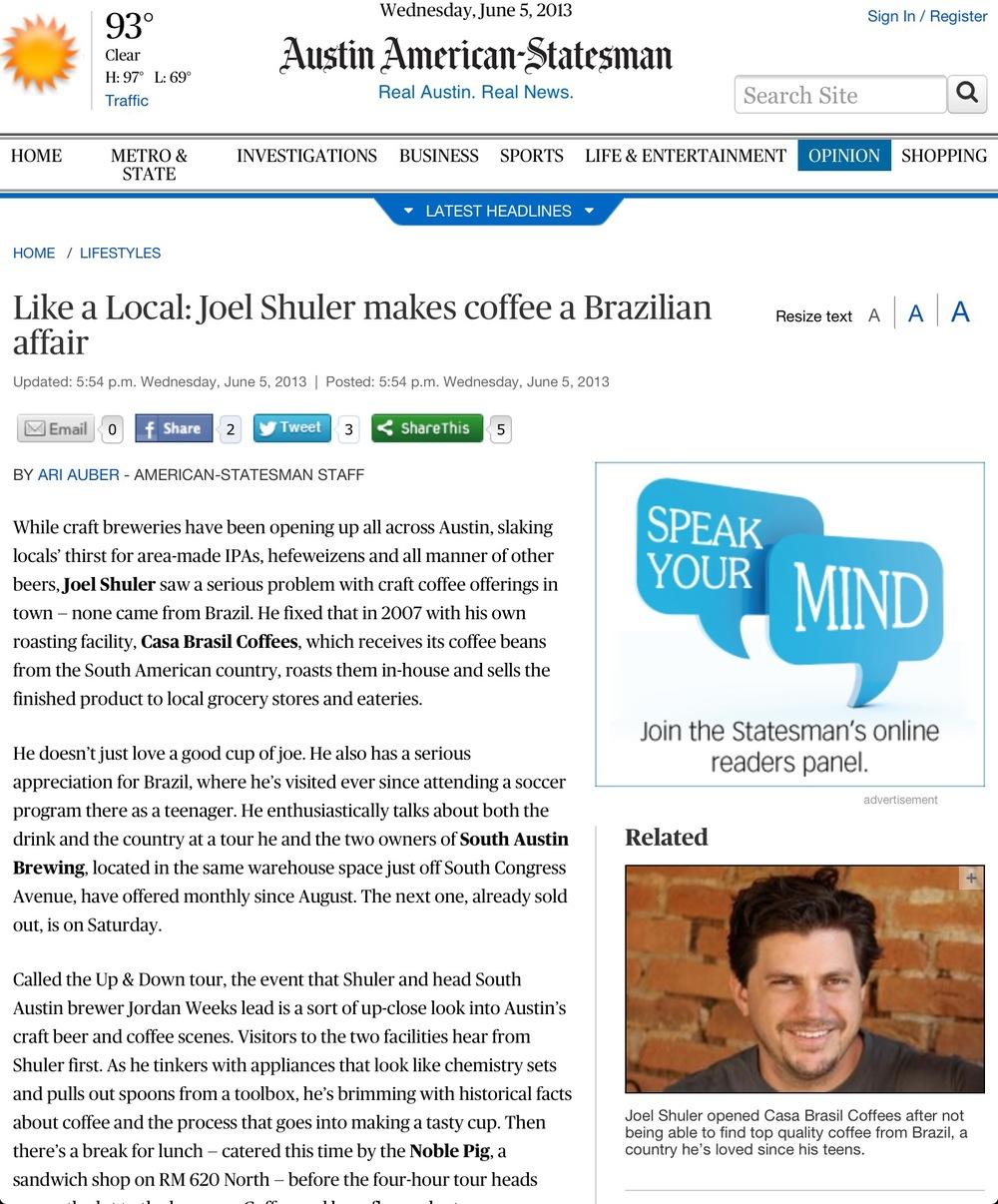 Joel Shuler of Casa Brasil in Austin-American Statesman, June 2013