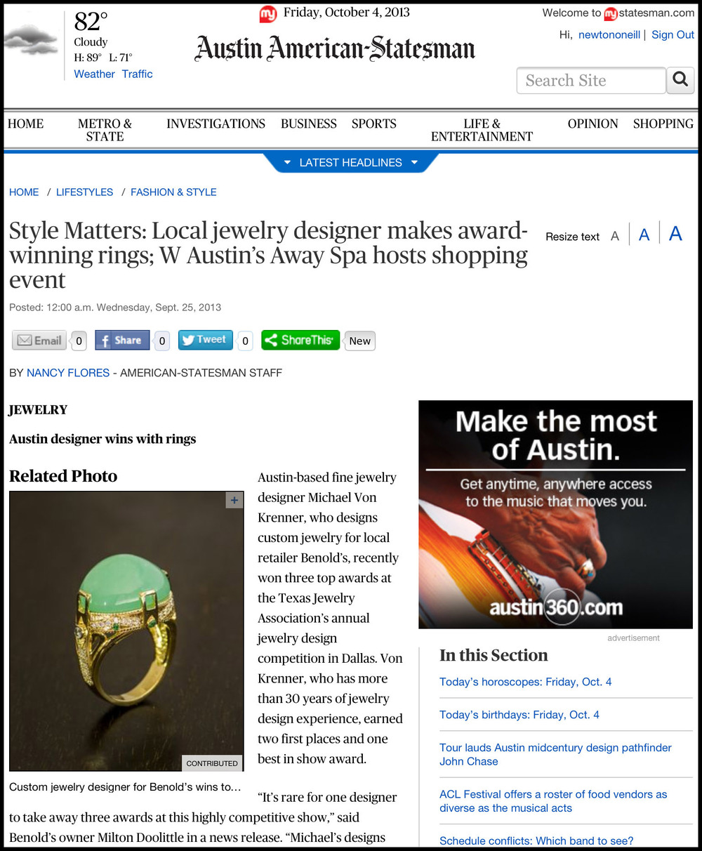 Benold's Jewelers featured in the Austin American-Statesman, September 25, 2013