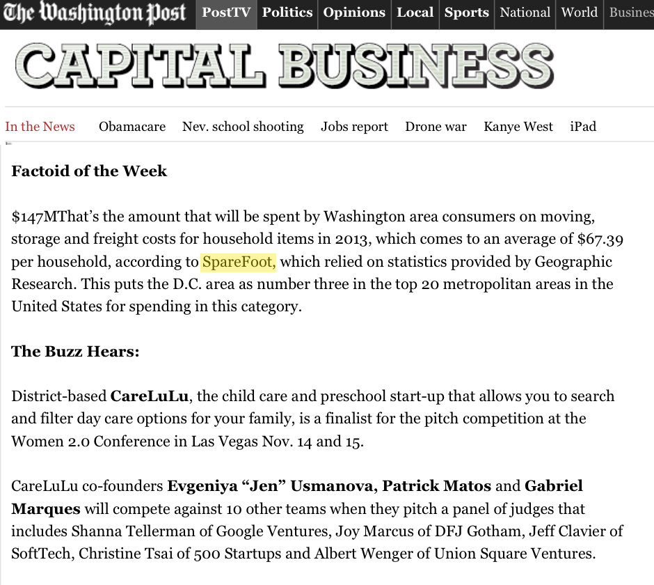 Sparefoot featured in the The Washington Post, October 20, 2013