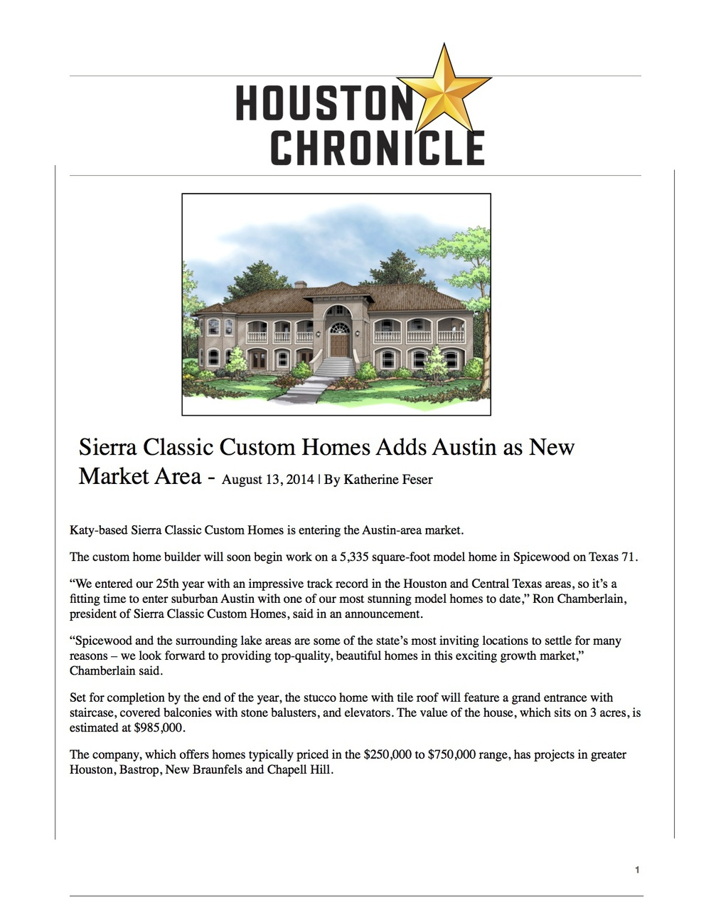 Sierra Classic Custom Homes: Houston Chronicle August 2014
