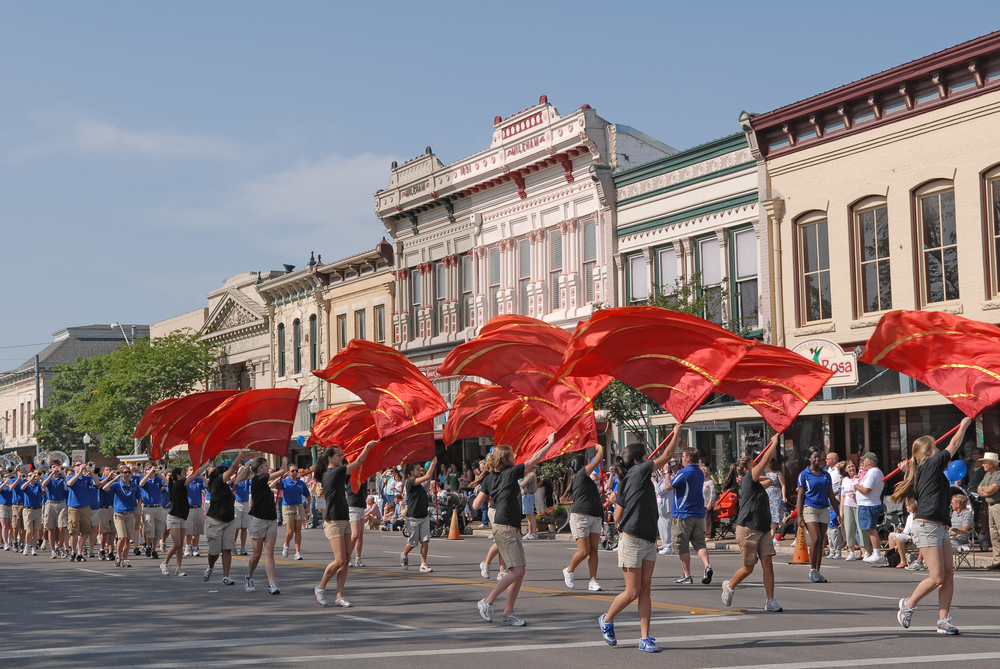 Parade downtown during the Annual Red Poppy Festival