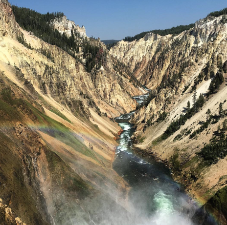 A rainbow over Lower Falls in Yellowstone National Park.