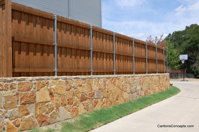 Custom Stonework Fence Wall