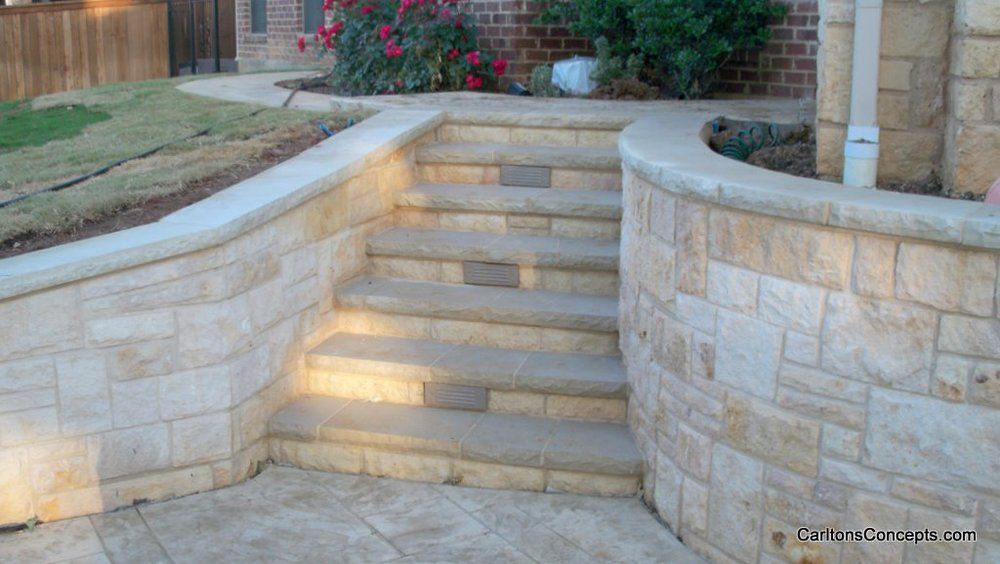 Custom Stonework Sidewalk Steps