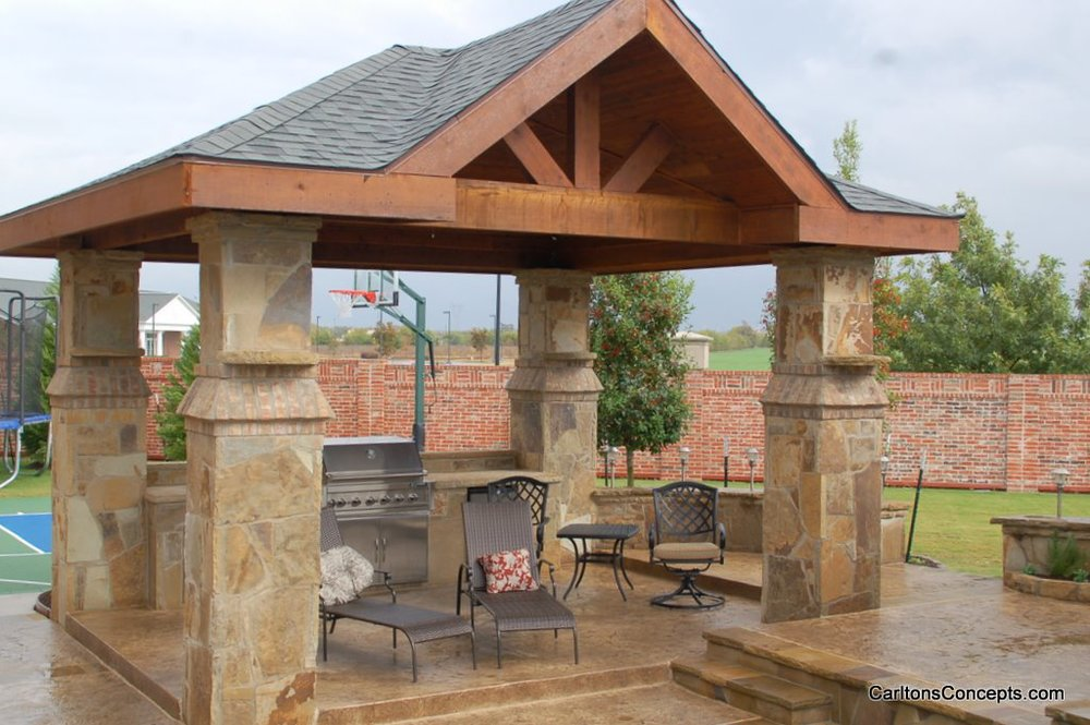 Custom Stonework Patio Cover