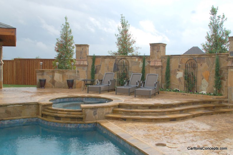 Custom Stonework Pool Surround