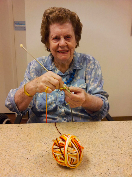 Marion doing her knitting.