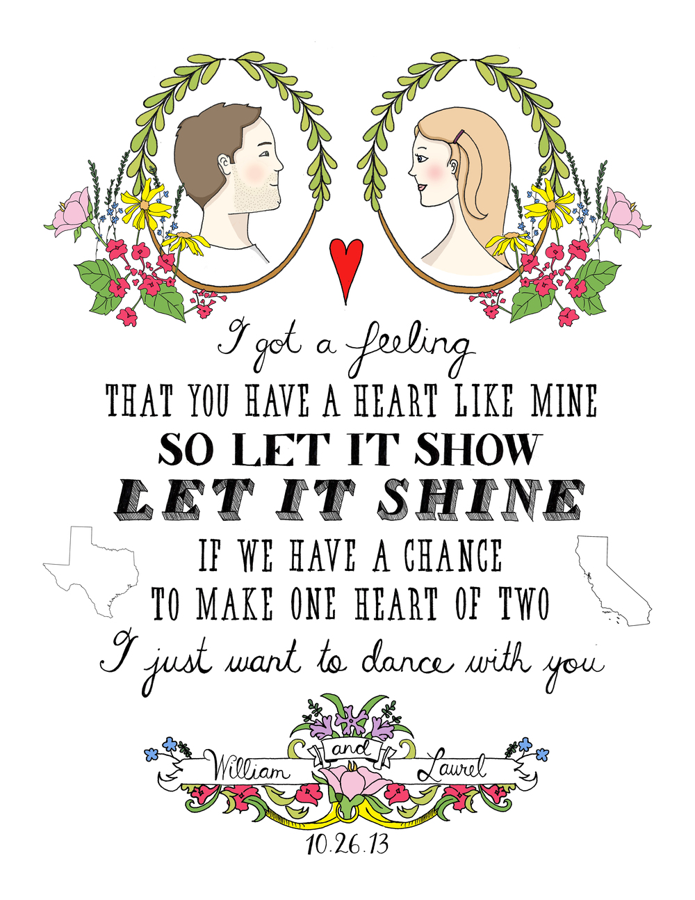 Laurel + William, custom wedding gift