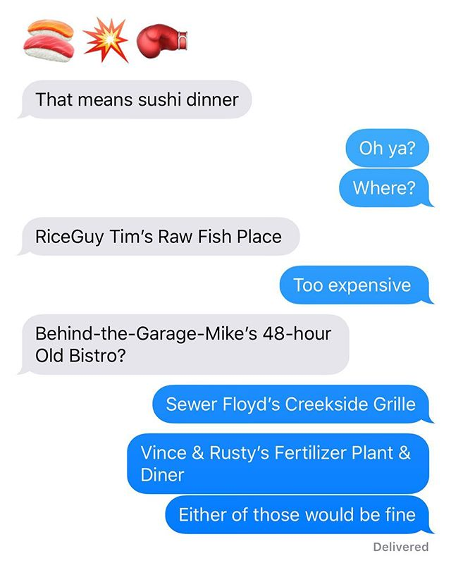 Planning an evening out with @aspacelot 🍣🥟🍤🐟🚽💩