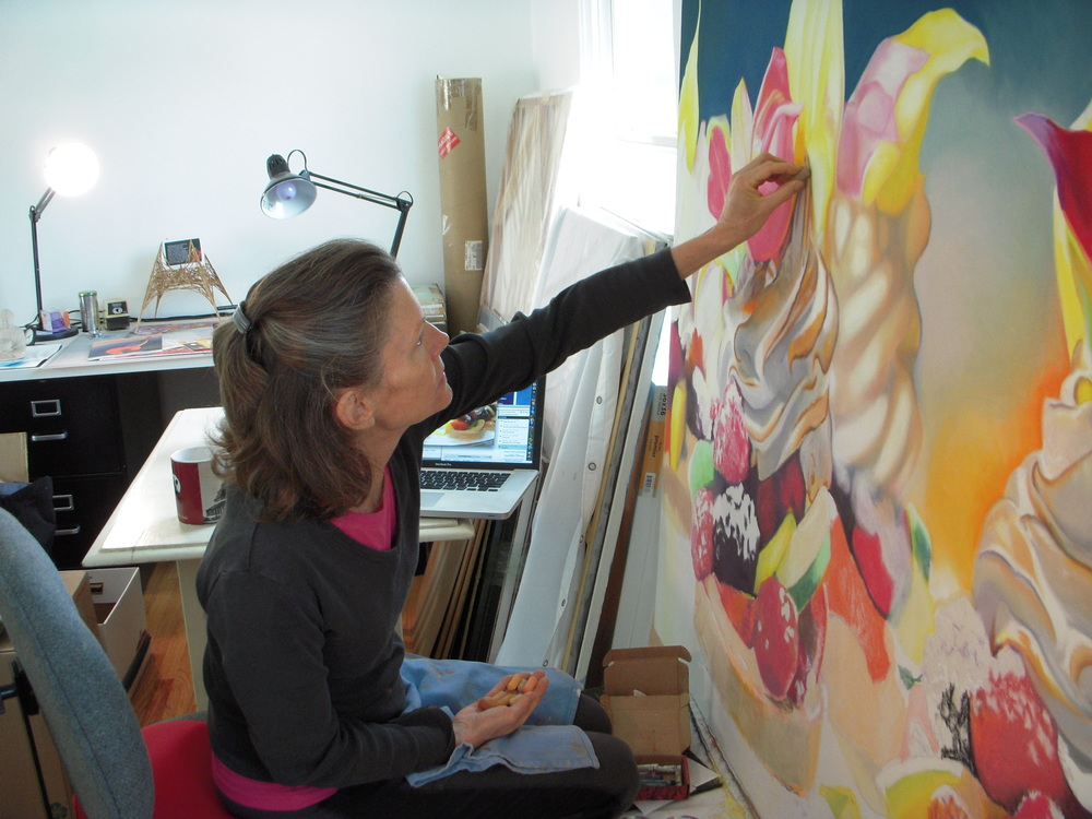 Barbara working in her studio on Extraordinary Tarts piece