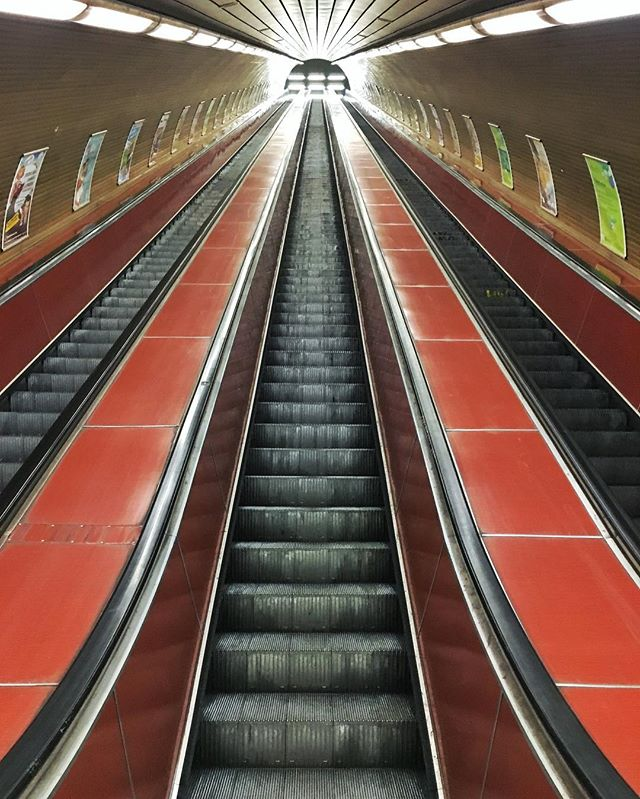 Midnight metros in Prague.  #metro #stairs #prague #escalator #views #symmetry