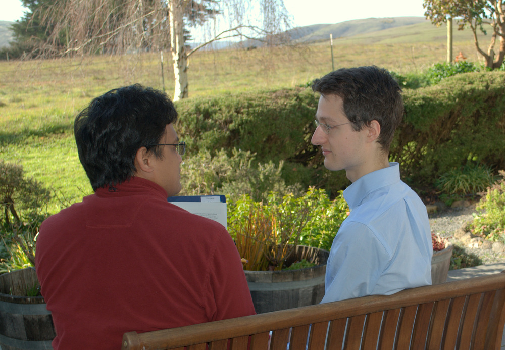 Jan (right) at a recent YA Retreat chatting with another YA about how to strengthen his meditation practice.