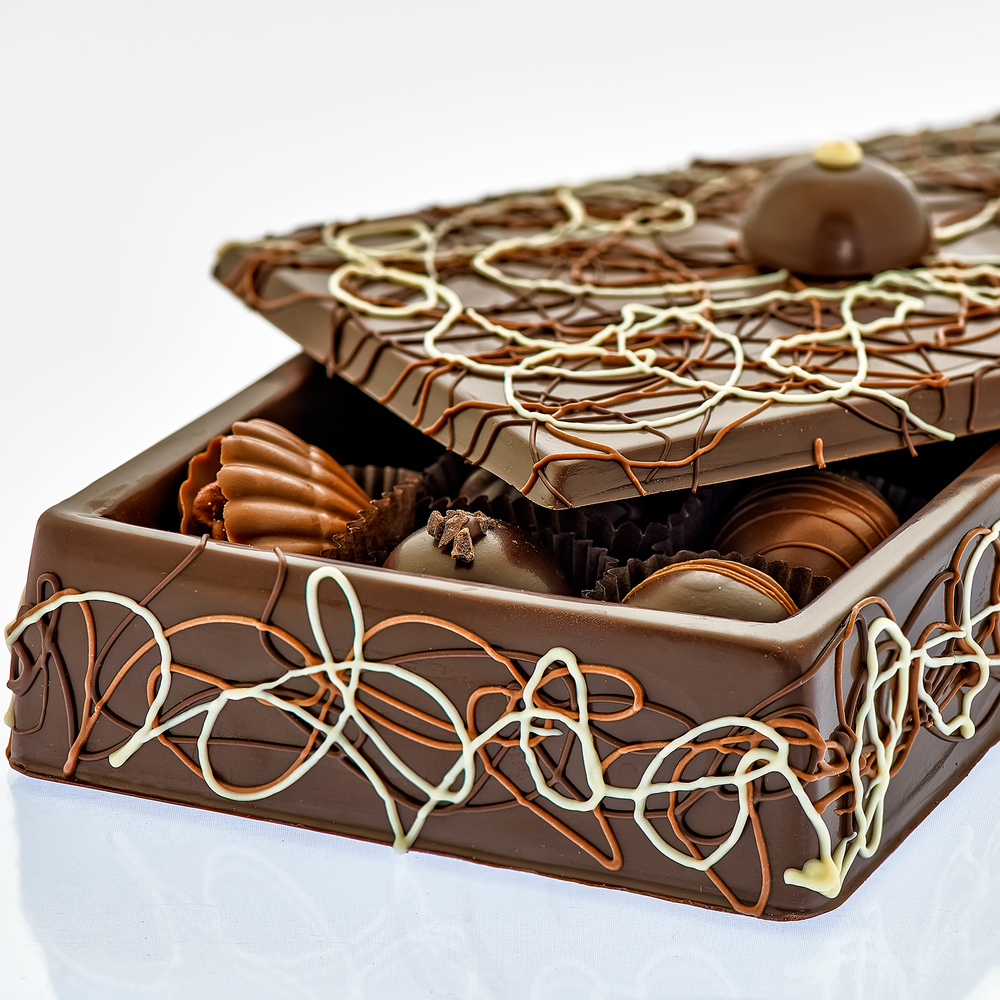Dark Chocolate Box Closeup