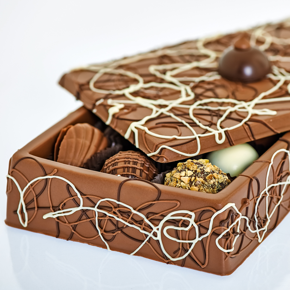 Milk Chocolate Box Closeup