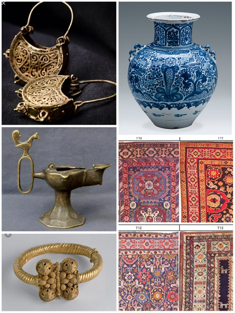 Abbasid jewelry, rugs and pottery