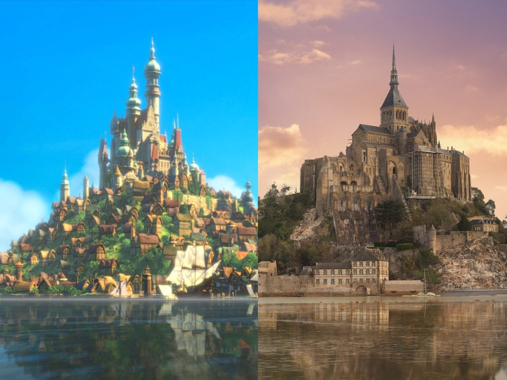 Mont Saint-Michel in Normandy, France, is apparently so beautiful it has been the backdrop for many movies, including 'Tangled'. The castle is situated in an island community near the coastline of the French countryside.