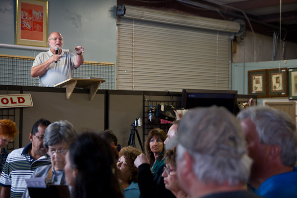 An auctioneer conducts an auction at an auction house in Las Vegas, Nevada.