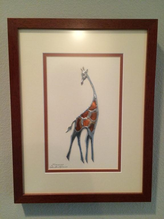 Metal Giraffe Design Art Signed Marietha