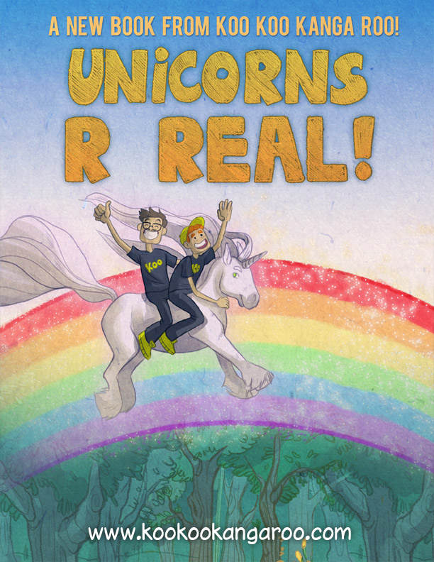 It's Coming!    Our first ever hardcover kids book to the song   'Unicorns R Real' comes out WEDNESDAY Morning.  The book is $10 and will be available at http://kookookangaroo.com/  Illustrated by the wonderful Mel Potts http://www.melpotts.com/