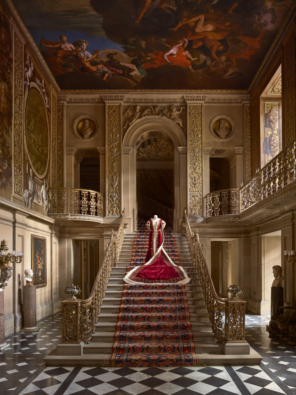 Mistress of the Robes Coronation Gown, Painted Hall, Chatsworth, 2016.  Photo by Thomas Loof, © Chatsworth
