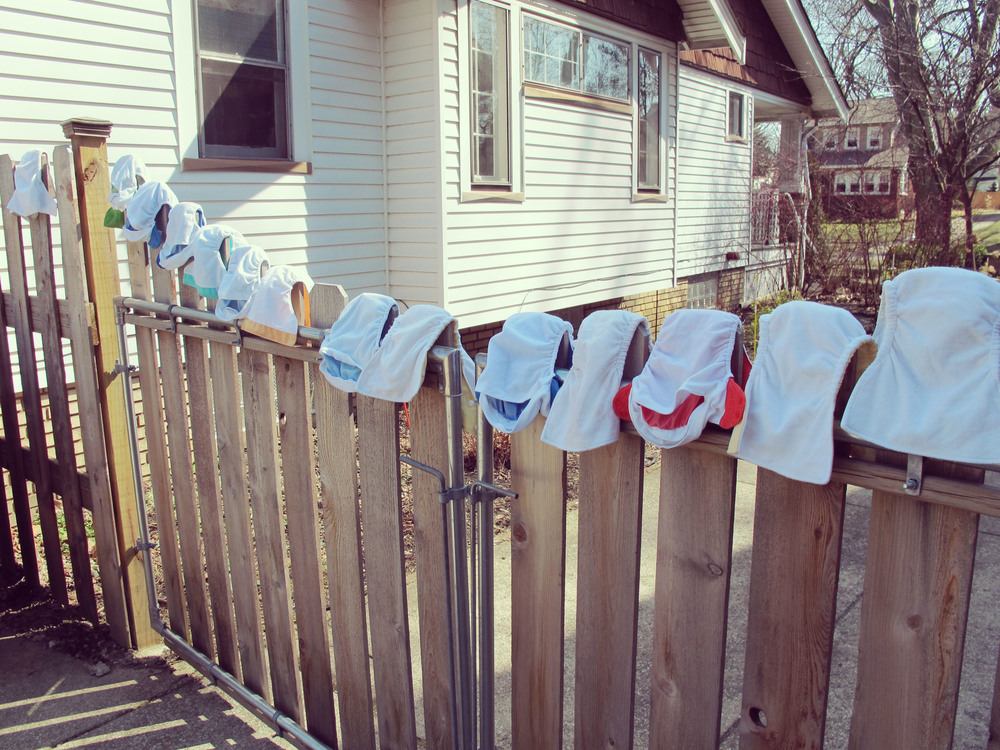 We are looking into buying a clothesline but, in the meantime, this works too.