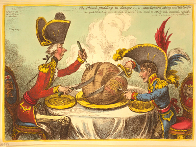 """The Plumb-pudding in danger, or, State epicures taking un petit souper"" by James Gillray published in 1805. Available from the  Library of Congress ."