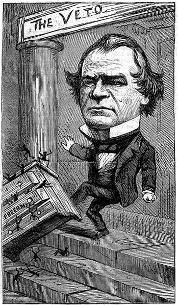 Bal d'Opera: Cartoon of US President Andrew Johnson by Thomas Nast, depicting the President disbanding the Freedmen's Bureau. Created 1866 - PD Source: Wikimedia Commons
