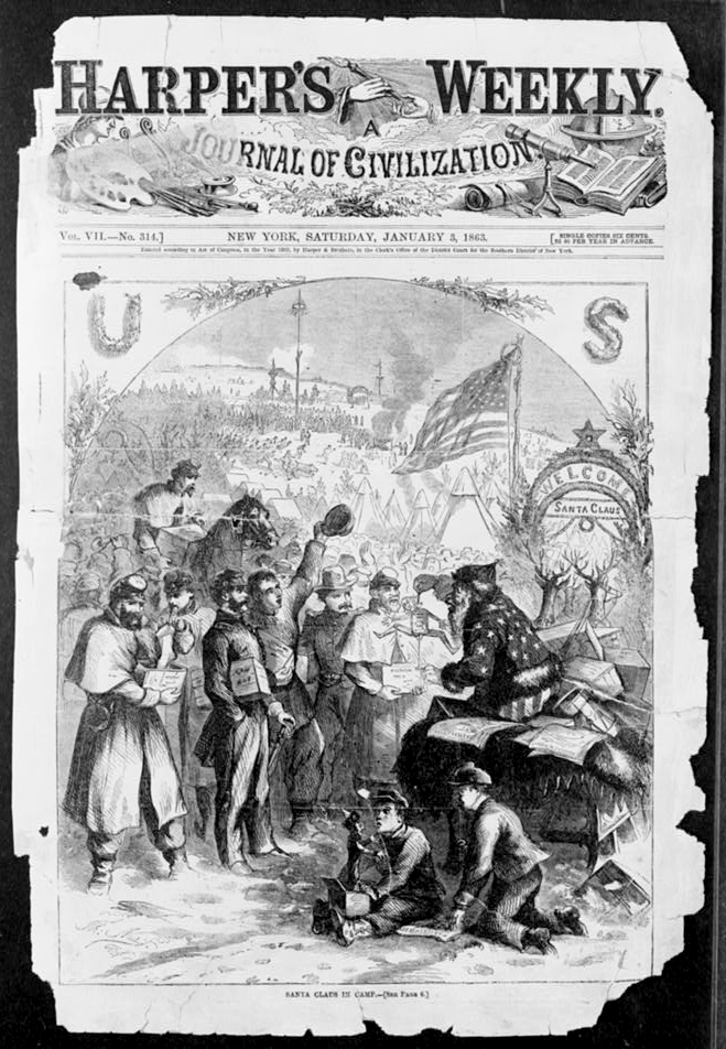 Santa Claus in Camp by Thomas Nast published 1863 - PD Source: Library of Congress