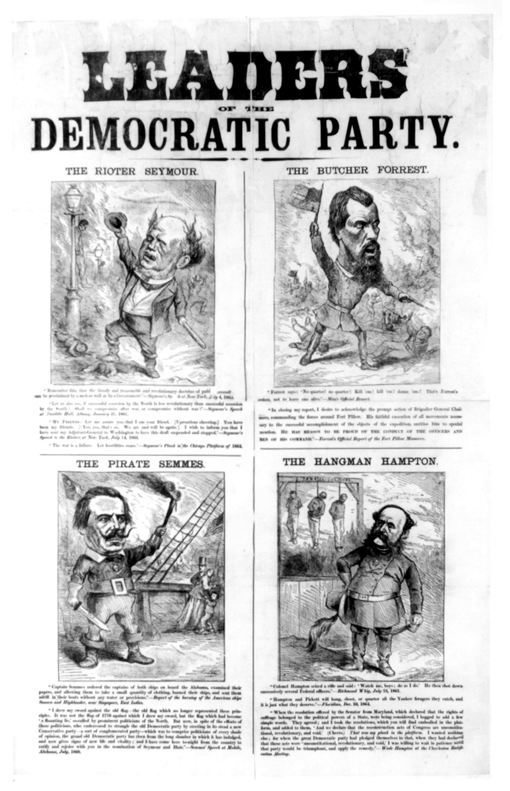 Leaders of the Democratic Party including The Rioter Semour and The Butcher Forrest by Thomas Nast, depicting Horatio Seymour. Published 1868 - PD Source: Library of Congress