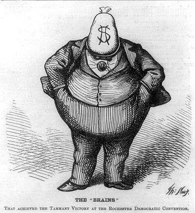 The Brains by Thomas Nast, depicting Boss Tweed. Published 1871 - PD Source: Library of Congress