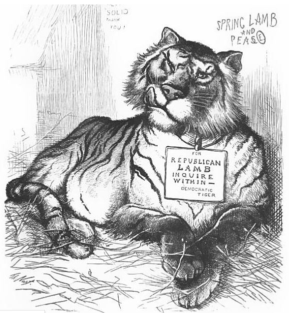 (LOLCAT) The Millennium. The Tiger and the Lamb Lie Together by Thomas Nast. The first use of the Republican Elephant. Published 1877 - Source: Thomas Nast: His Period and His Pictures by Albert Bigelow Paine. Google Books