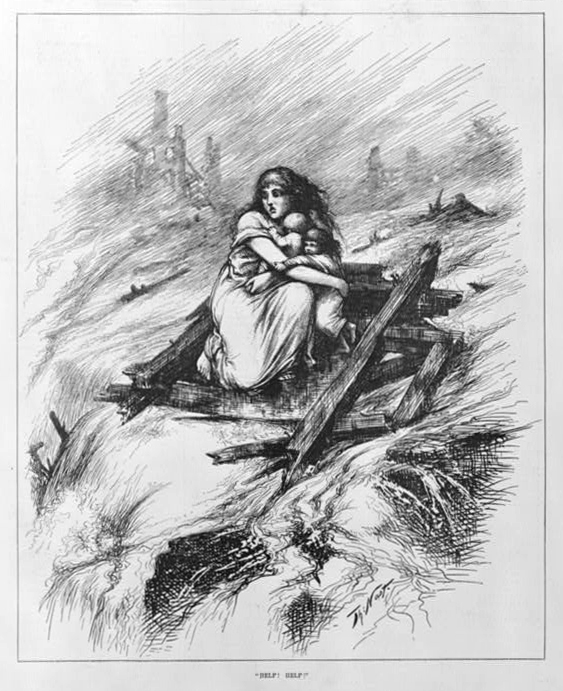 """""""Help! Help!"""" by Thomas Nast. Published 1884 - PD Source: Library of Congress"""