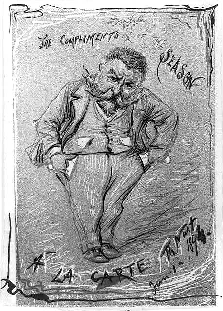The compliments of the season a la carte by Thomas Nast. Created 1894 - PD Source: Library of Congress