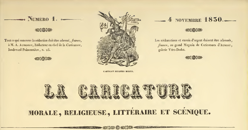 Masthead for La Caricature, Number 1: November 4, 1830 Premiere Issue