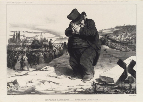 """Enfoncé Lafayette!... Attrappe, Mon Vieux!"" (Crushed Lafayette!... Trapped, Old Fellow!) part of the L'Association Mensuelle series by Honoré Daumier published in 1834. PD Source: Wikimedia Commons"