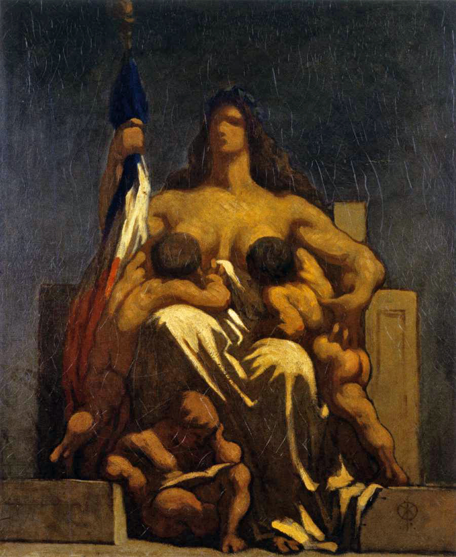 """La République"" sketch in oil by   Honoré Daumier created April 1848"