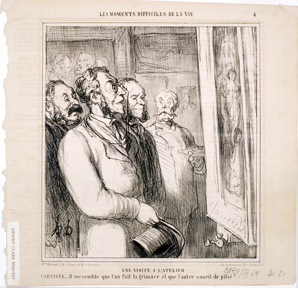 """Une visite à l'atelier"" by Honoré Daumier published in Le Charivari in 1864.Part of the Les Moments Difficiles De La Vie series. PD Source: WikiMedia Commons."
