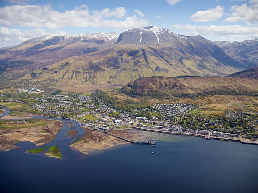 Fort William with Ben Nevis, still snow topped in late May
