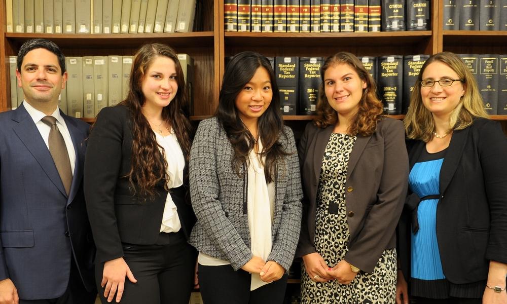 From left: IPLC Director Prof. Jeremy Sheff, Amanda Hoffman '17, Olivia Cheung '17, Alyssa D'Antonio '17, Prof. Eva Subotnik.