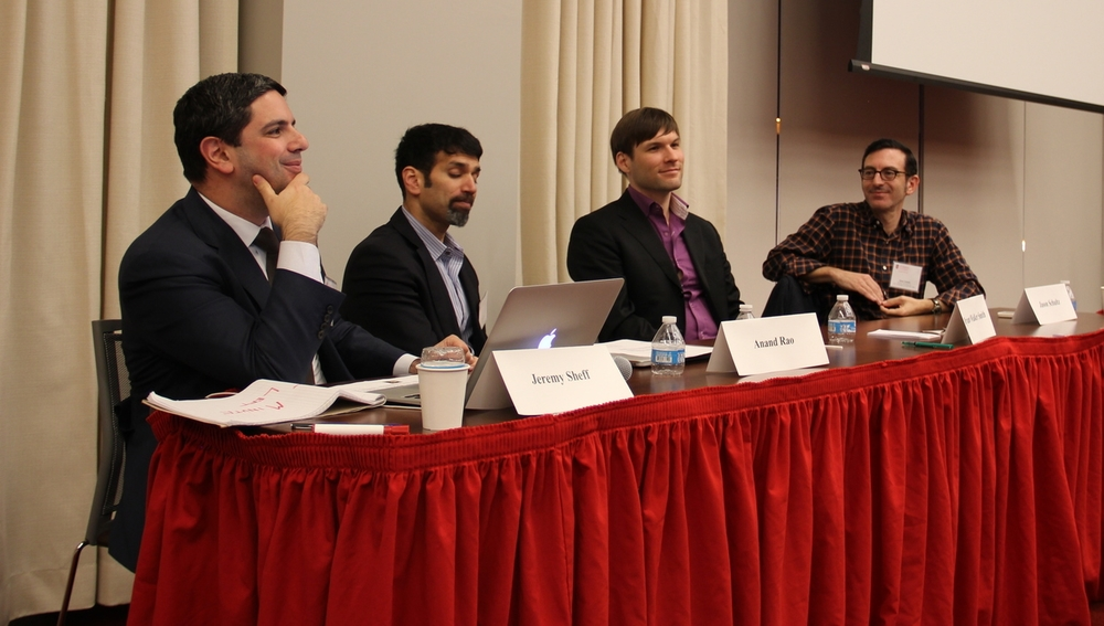 Panel 2. From Left: IPLC Director Professor Jeremy Sheff; Anand Rao; Professor Bryant Walker Smith; Professor Jason Schultz