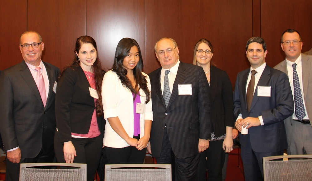 From Left: Daniel A. DeVito '87, IP Honors Scholar Amanda Hoffman '17, IP Honors Scholar Olivia Cheung '17, Shephard Lane '66, Professor Eva Subotnik, IPLC Director Professor Jeremy Sheff, Executive Director of Alumni Development Brian Woods.