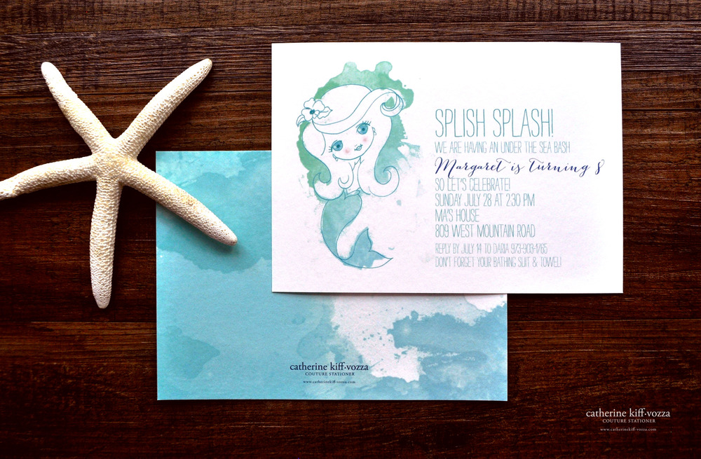 Custom mermaid illustration on a bamboo card, watercolor back.