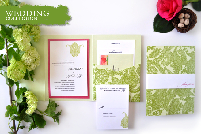 Pocketfold wedding suite in green paisley with fuchisa accents.