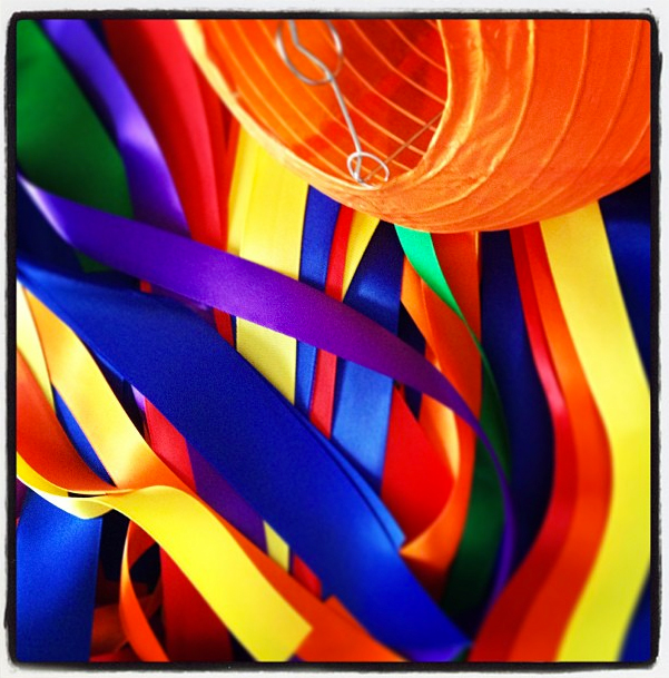 Sneak peek of a rainbow ribbon chandelier and one of the most versatile party decorations...the Chinese lantern