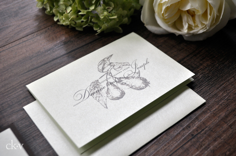 Pear Wedding thank you card
