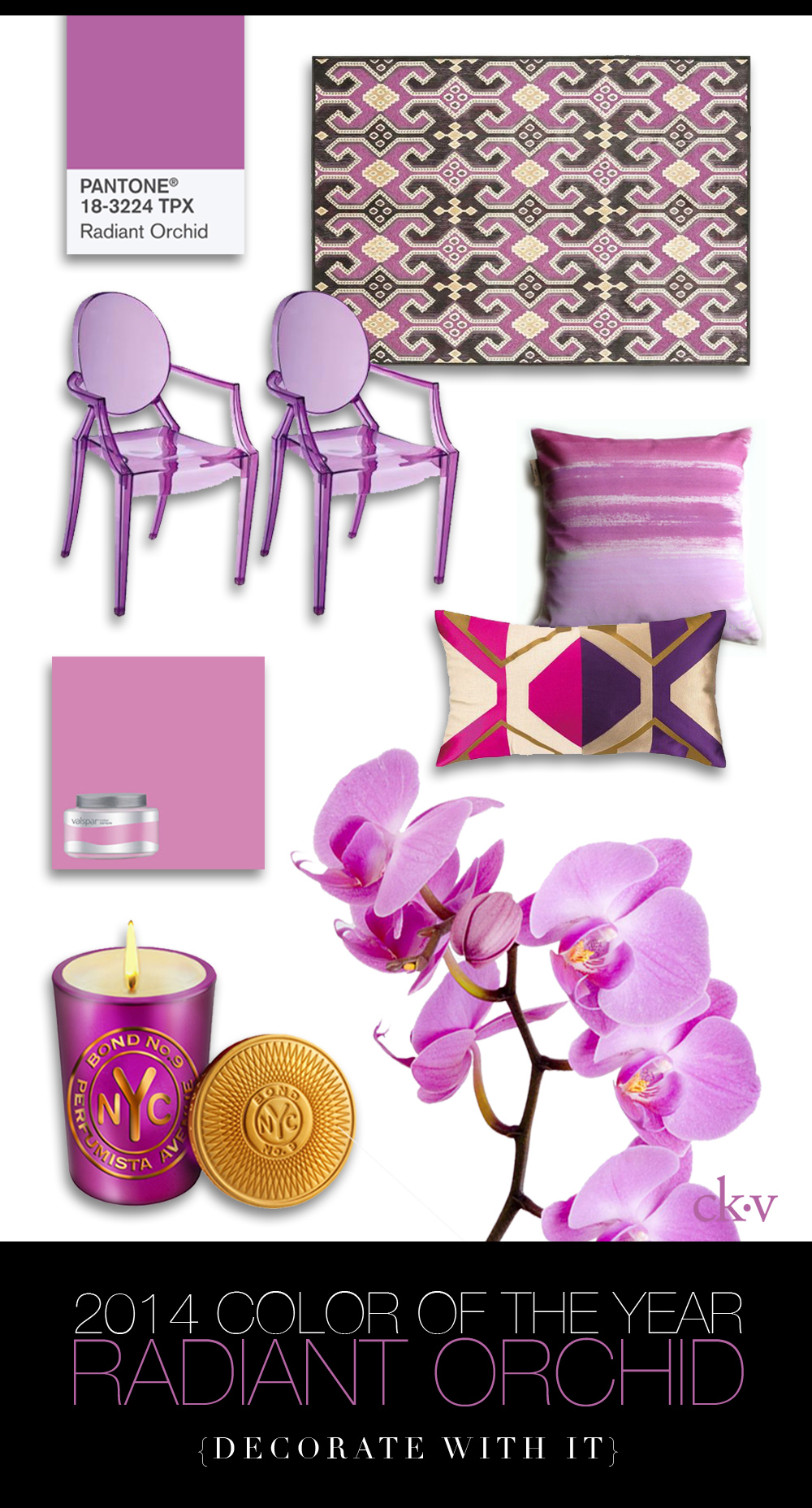 Mardi Gras Orchid ,  Valspar 8-oz Pantone Wild Orchid Interior Satin Paint Sample ,  Baby Anime Transparent Purple Kids Armchairs ,   Modern Hand Printed 16 x 16 Cotton Pillow Cover  ,  'Perfumista Avenue' Scented Candle ,  Safavieh Paradise Purple Viscose Rug,   Trina Turk Pillow