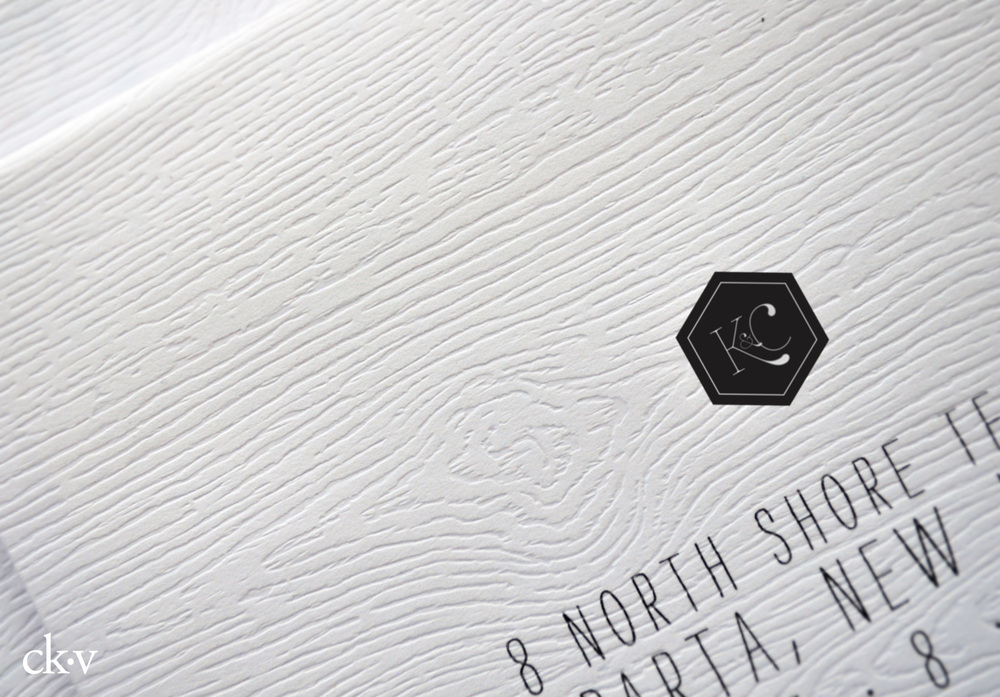 wood faux bois envelopes with wedding logo