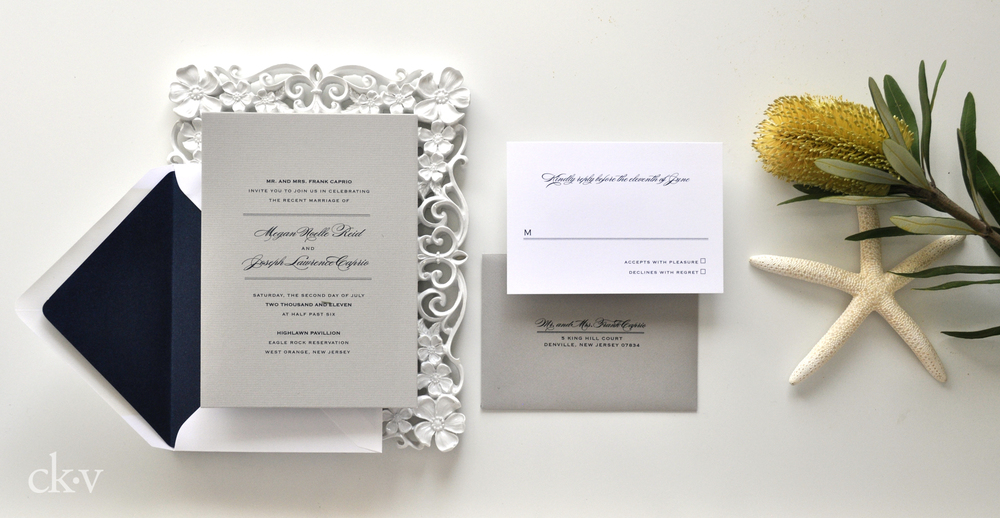 simple grey wedding invitations